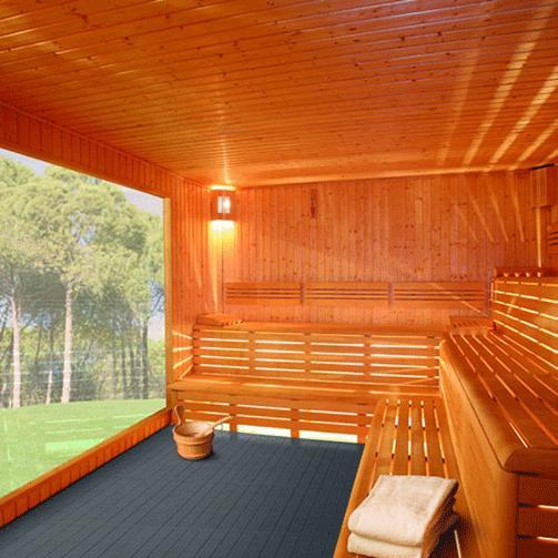 Saunabereiche - problemloser Einsatz dank Drainage + temperaturbeständig