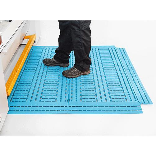 Fußbodenrost Work-Deck blau am Arbeitsplatz