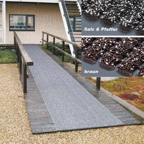 Sicherheitsmatte grau auf Holzsteg