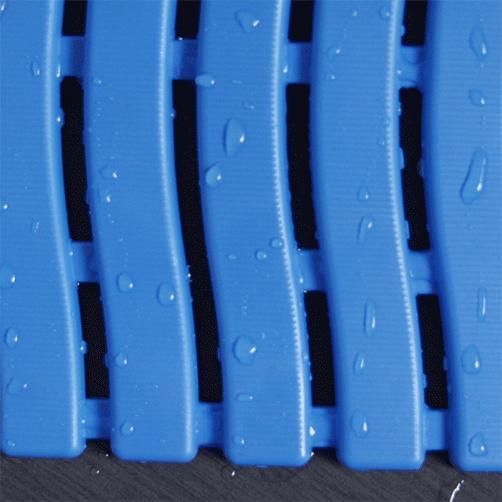 Barfussmatte Softstep blau Oberseite bei Nässe